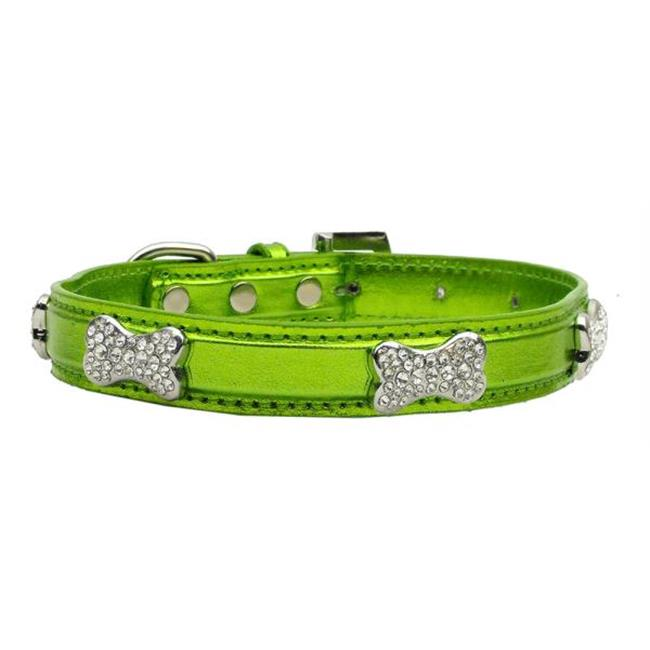 Mirage Pet Products 87-01 SMLG Metallic Crystal Bone Collars Lime Green Small