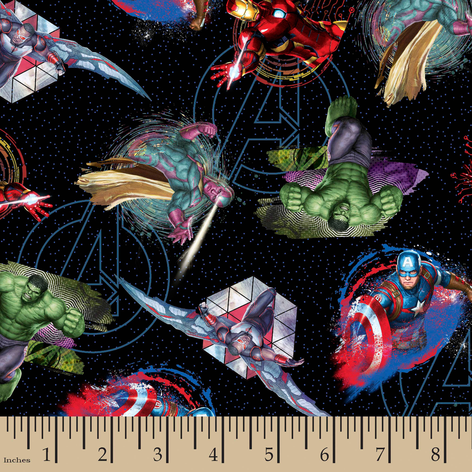 "Marvel Avengers Badges, Multi-Colored, 100 Percent Cotton, 43/44""W, Fabric by the Yard"