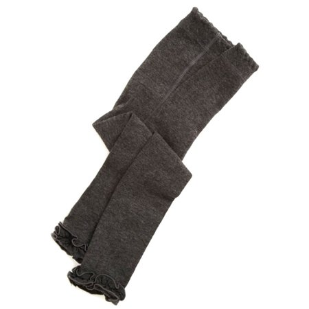 Jefferies Socks Little Girls Charcoal Ruffle Trim Cotton Footless Tights