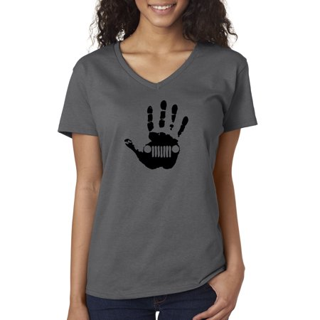 Trendy USA 772 - Women's V-Neck T-Shirt Jeep Handprint Wave Grille Wrangler Cherokee XS Charcoal