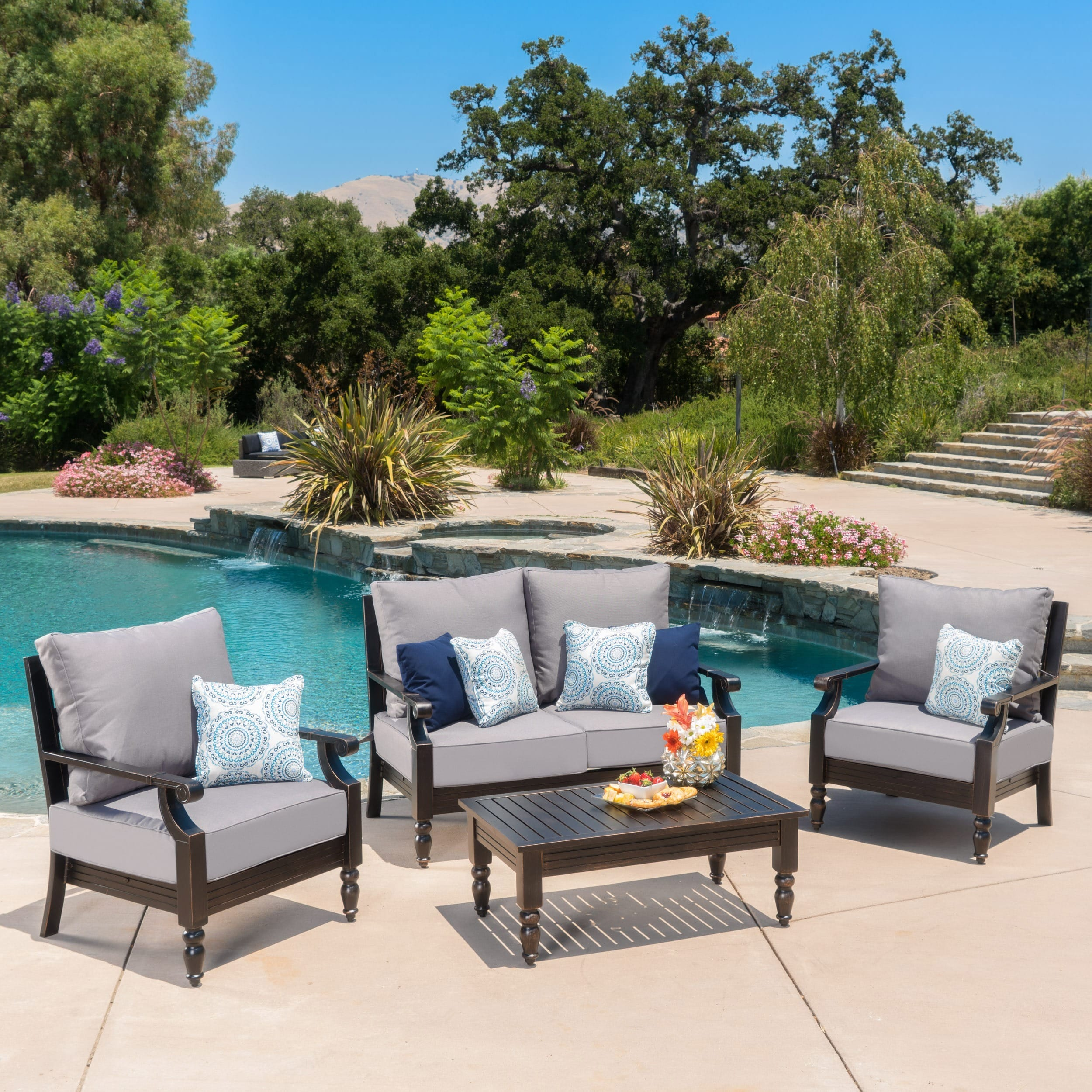 Christopher Knight Home Weston Outdoor 4-piece Aluminum Chat Set with Cushions by