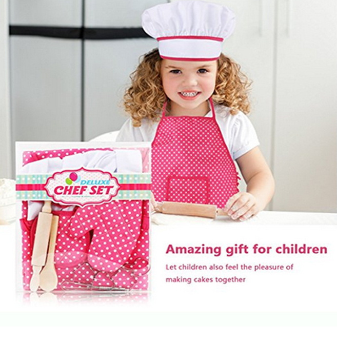 Kids Chef Apron and Hat Set Children Kichen Cooking Baking Cooks Play Game 11pcs