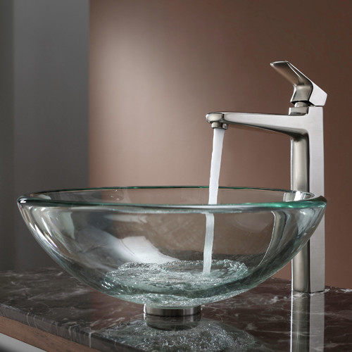 Kraus C-GV-101-19mm-15500 Clear Glass Vessel Sink and Virtus Faucet