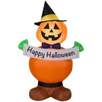Gemmy Industries Yard Inflatables Pumpkin Witch, 4 ft