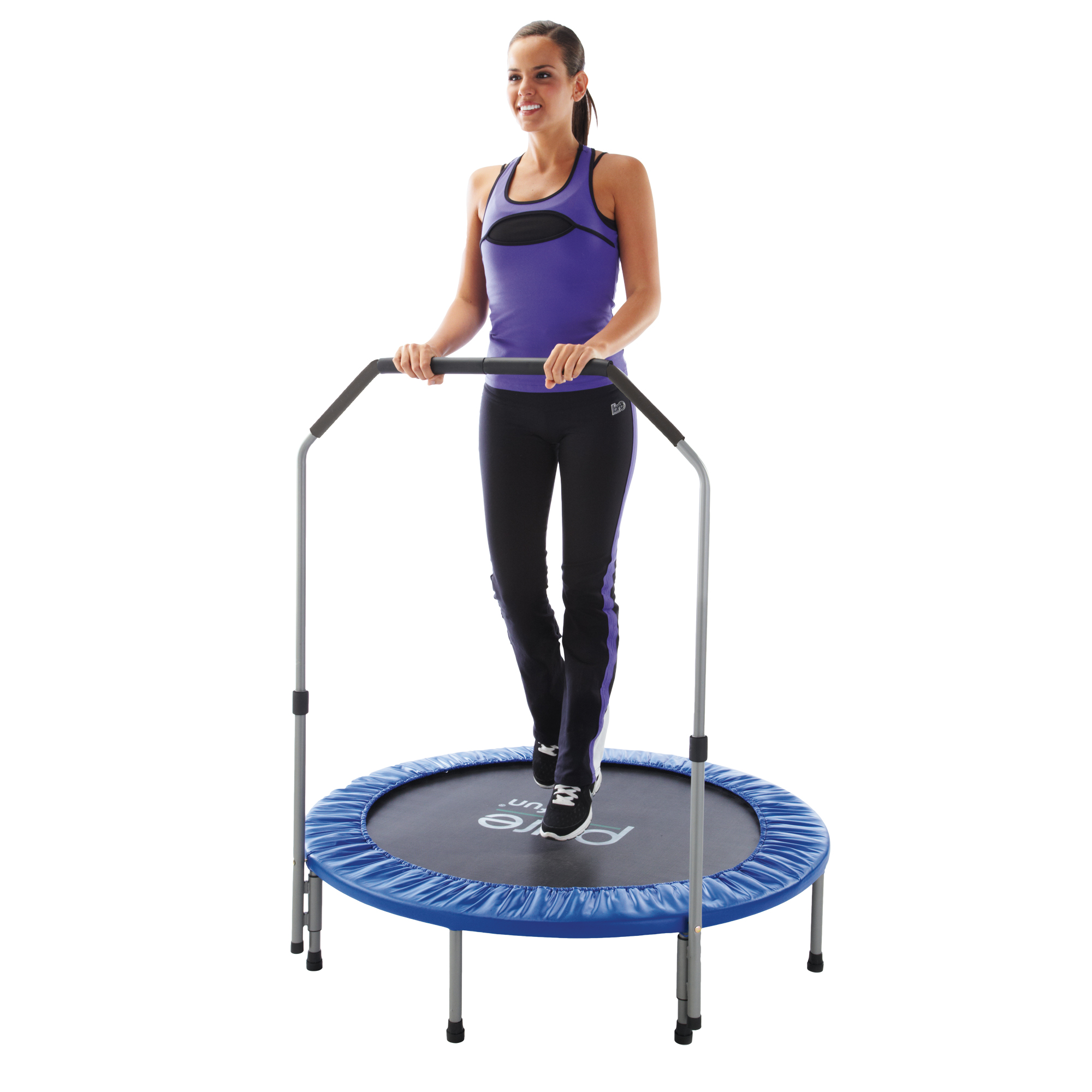Pure Fun 40-Inch Exercise Trampoline, with Handrail, Blue
