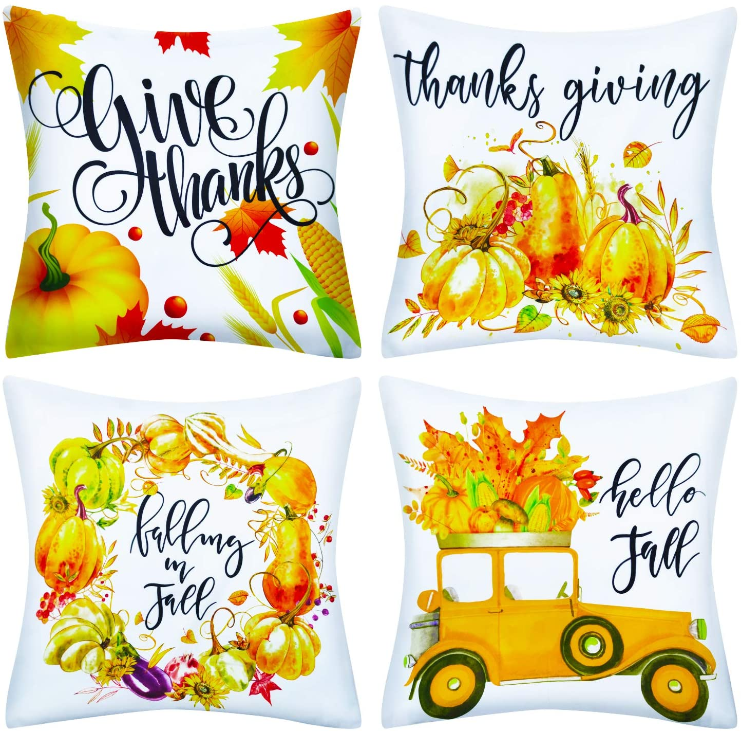 Decorx 4pack Fall Pillow Covers 18 X18 Fall Pumpkin Decorative Pillow Covers Cushion Halloween Thanksgiving Decorations For Home Sofa Couch Bedroom Indoor Outdoor Decor Holiday Pillows Walmart Com Walmart Com