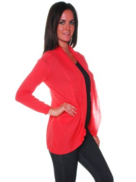 Active USA Junior Women's Basic All Occasion Open Front Cardigan Shawl Sweater Top -