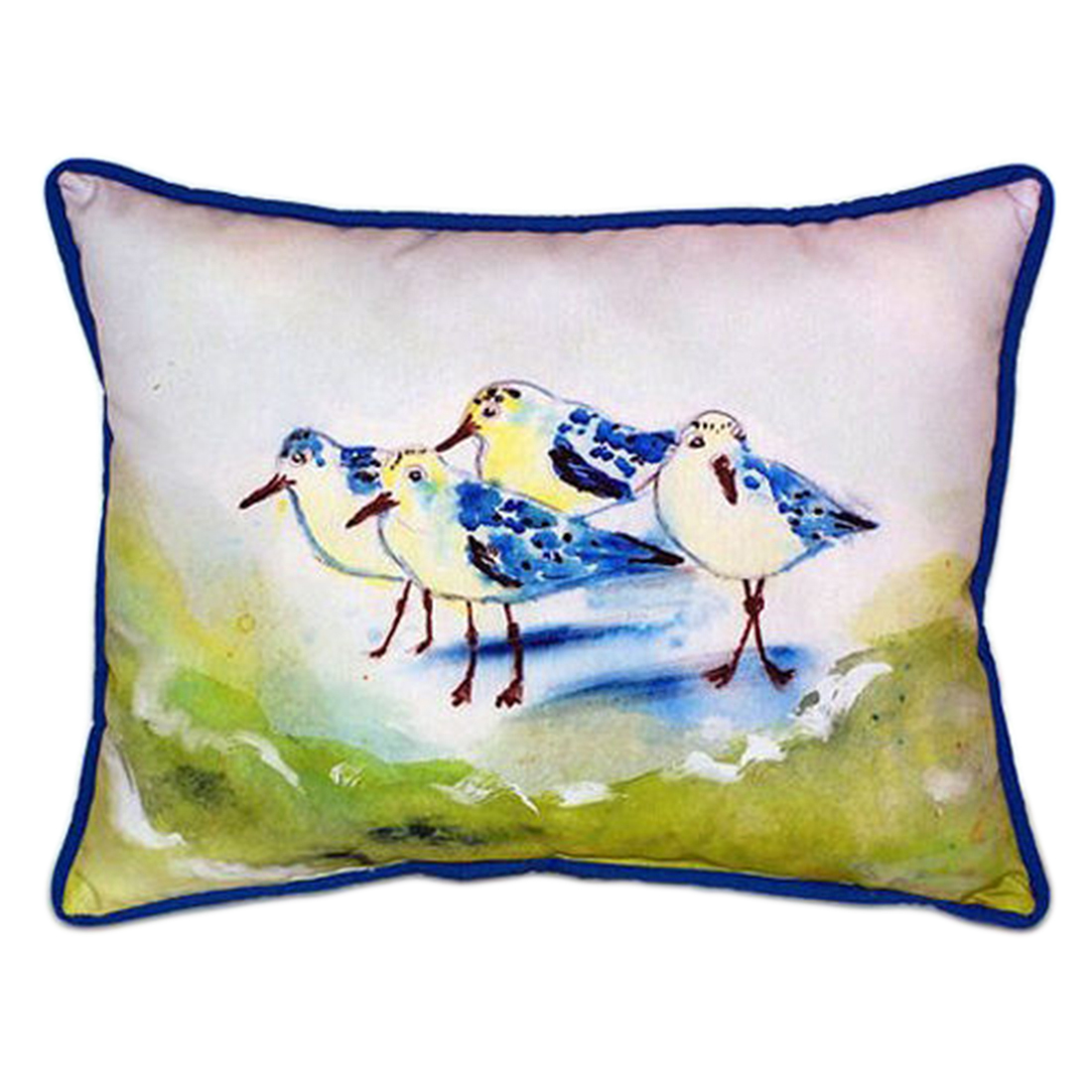 Betsy Drake Green Sanderlings Extra Large 20 X 24 Indoor / Outdoor Zippered Pillow