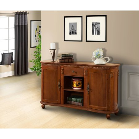 Walnut Wood Sideboard Buffet Console Table With Storage Drawer Shelves Cabinet Doors