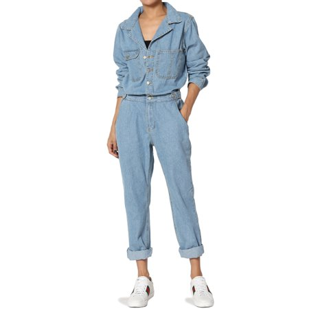 3be5c0dc12b TheMogan - TheMogan Women s Button Up Collared Boyfriend Straight Leg  Utility Denim Jumpsuit - Walmart.com