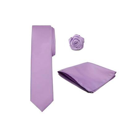 Men's XL Tie Hanky Open Rose Lapel Flower 3 pc Set