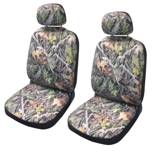 Camo Seat Cover Pair Front Row Camouflage Forest Gray Jeep Liberty Low Back