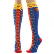 Knee High Socks - Superman - Faux Lace Up New Toys kh2mz1spm