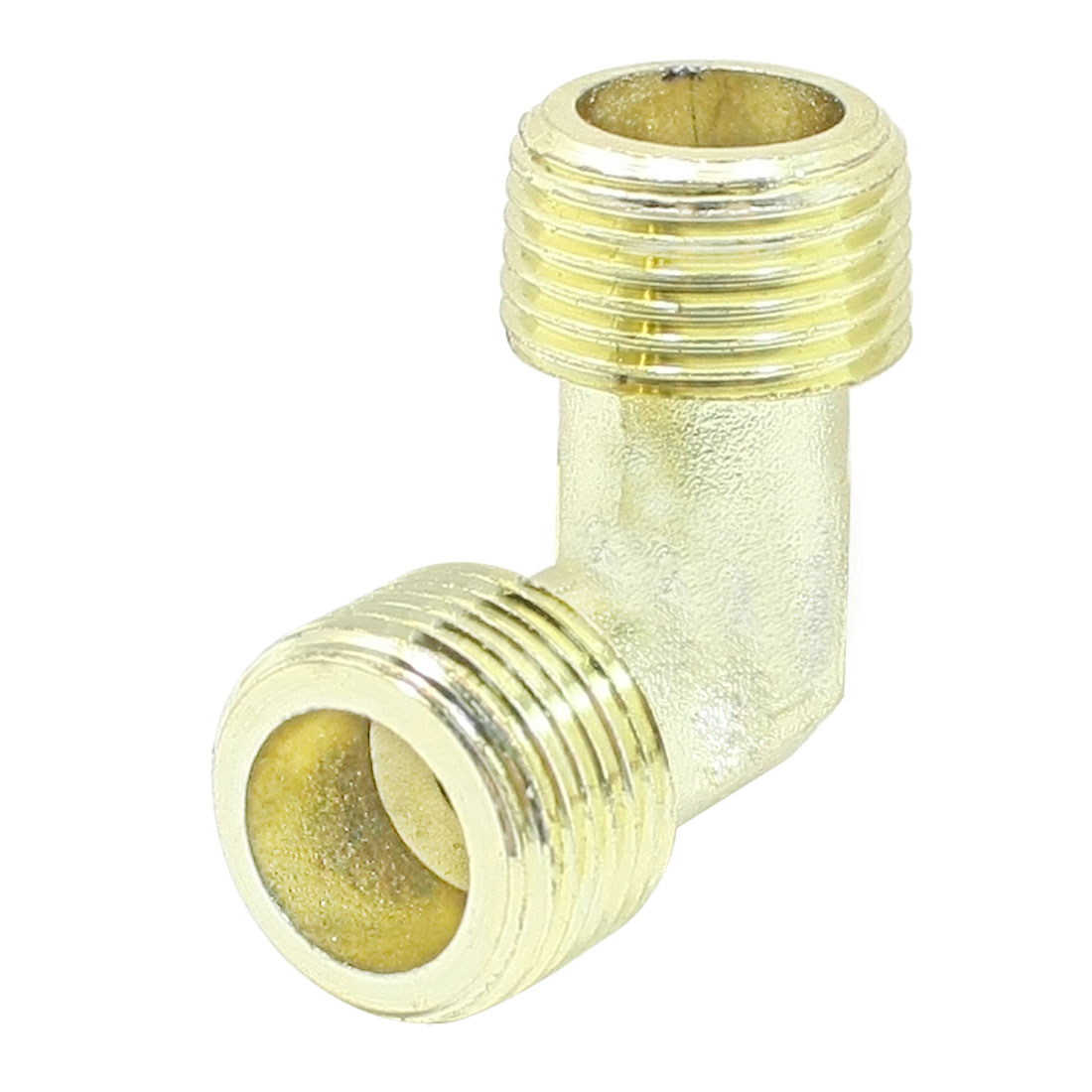 Unique Bargains Gold Tone Air Compressor Fittings Brass 3/8BSP Male Thread Elbow