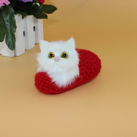 Outop 1Pcs 10X6cm Mini Simulation Sounding Shoe Kittens Cat Plush Toys Not Need Feed Pet Kids Appease Doll Christmas Birthday Gifts Red