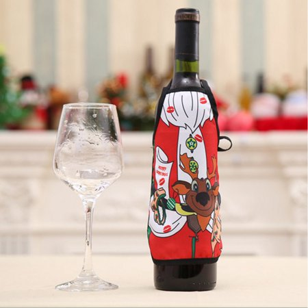Holiday Clearance Christmas Wine Bottle Aprons Non-woven Mini Xmas Bottle Decorations Bottle Cover