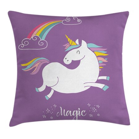 Unicorn Home and Kids Decor Throw Pillow Cushion Cover, Mythical Animal with Clouds and Rainbow Figure Fairy Image, Decorative Square Accent Pillow Case, 18 X 18 Inches, Purple White, by Ambesonne - Rainbow Pillow