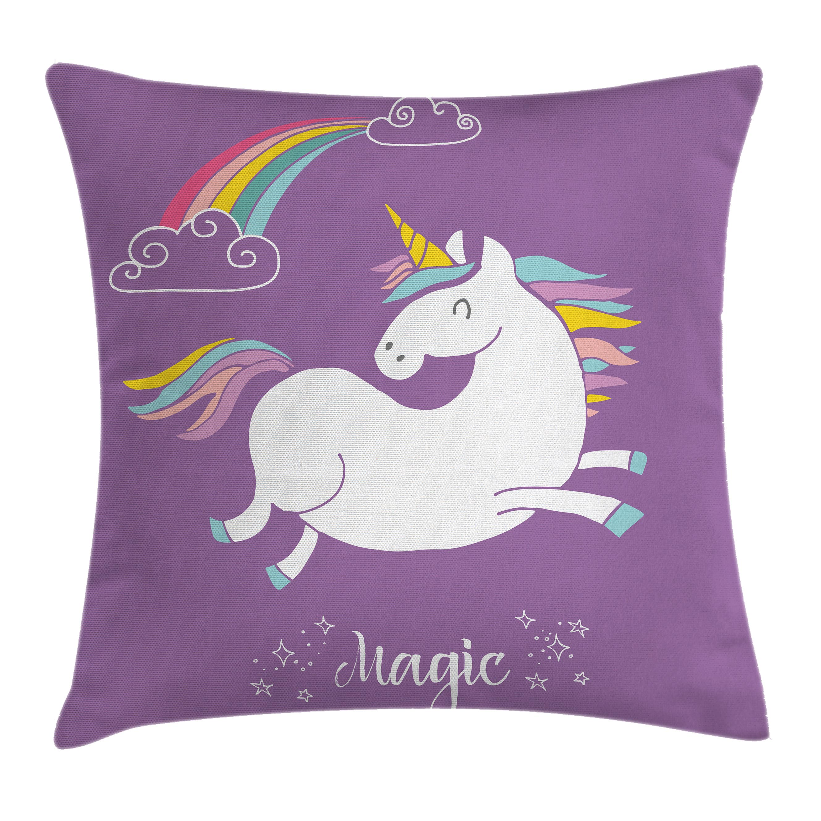 Unicorn Home and Kids Decor Throw Pillow Cushion Cover, Mythical Animal with Clouds and Rainbow Figure Fairy Image, Decorative Square Accent Pillow Case, 16 X 16 Inches, Purple White, by Ambesonne