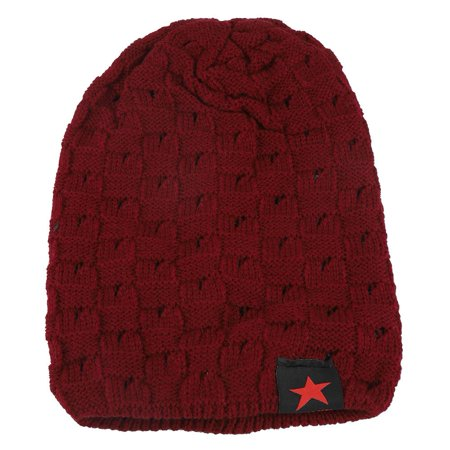 HERCHR Men and Women Fashion Hat, Men and Women Snow Cap, Winter Autumn Warm Knit Beanie Hats, Women's and Men Winter Hat, Small Five-Star Male and Female Hollow Double-Faced Knit Hat (Wine Red) ()