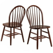 Winsome Wood Windsor Chair 2-Piece chair Set RTA, Walnut Finish by Winsome Trading Inc.