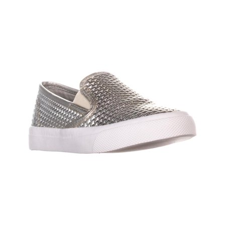 Womens Sperry Top-Sider Seaside Perforated Slip On Fashion Sneakers, Emboss Platinum