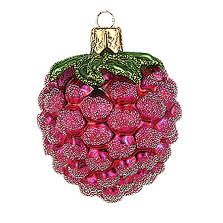 Mini Raspberry Polish Mouth Blown Glass Christmas Ornament Tree Decoration