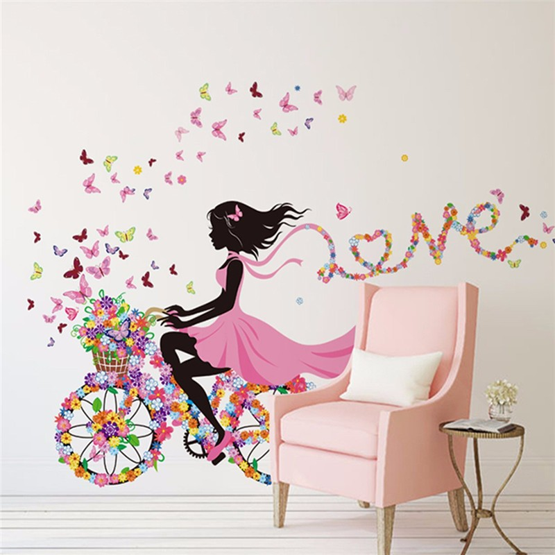 Nature Series Flower Butterfly Girl on Bicycle Removable Vinyl DIY Wall Art Mural Sticker Decal Decor for Living Room/Bedroom/Playroom/Hallway/Kindergarten/Home Office