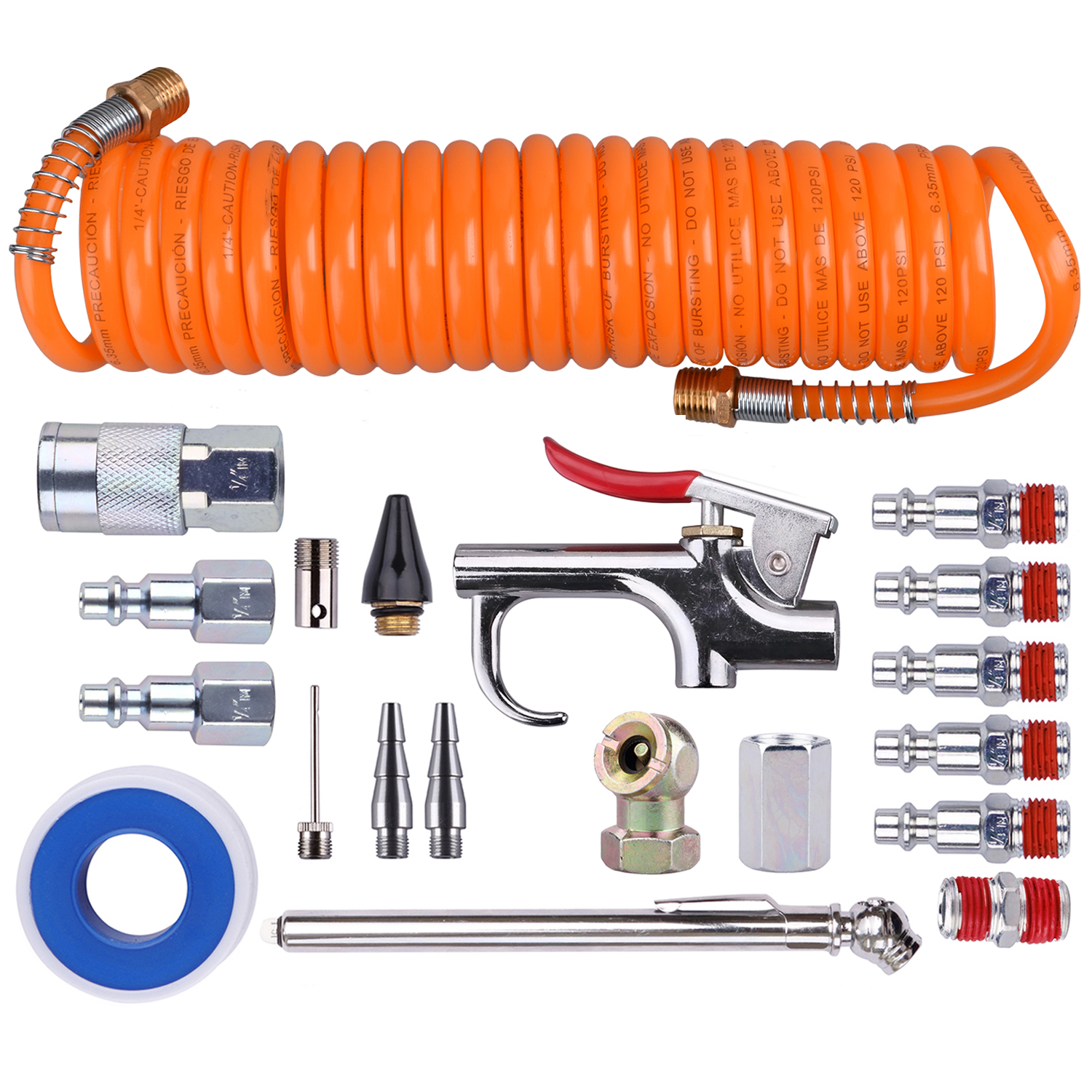 "WYNNsky 1/4""  Air Compressor kit - 20 Piece.Air Accessory kit Tool with  PU Hose/Blow Gun/Tire Gauge/Storage Case"