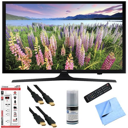 Samsung UN43J5200 – 43-Inch Full HD 1080p LED HDTV Hook-Up Bundle includes UN43J5200 43-Inch Full HD 1080p LED HDTV, Screen Cleaning Kit, 6′ HDMI Cable x 2, 6 Outlet/2 USB Wall Tap and Microfiber Clea