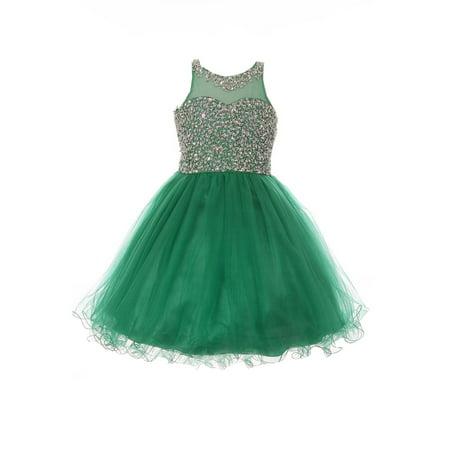 Christmas Green Dress.Little Girls Emerald Green Glitter Bead Wired Hem Tulle Christmas Dress