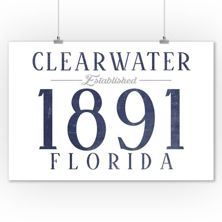 Clearwater  Florida   Established Date  Blue    Lantern Press Artwork  9X12 Art Print  Wall Decor Travel Poster