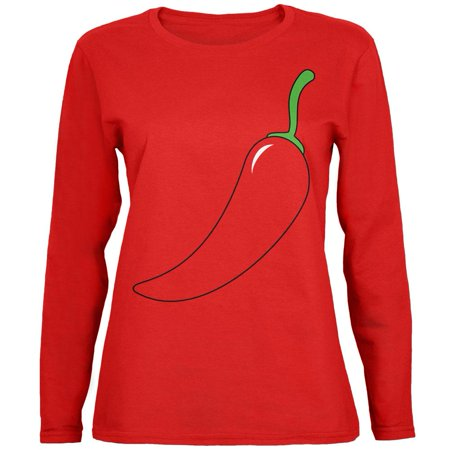 Halloween Chili Pepper Costume of Cinco de Mayo Womens Long Sleeve T Shirt - Mayor Costume