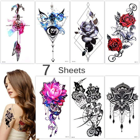 Lady Up 7 Sheets Temporary Tattoos Fake Tattoo for Women Girls Flower Rose Anchor Waterproof Stickers for Body