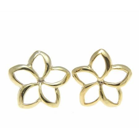 14K yellow gold Hawaiian high polish shiny 10mm open plumeria flower earrings ()