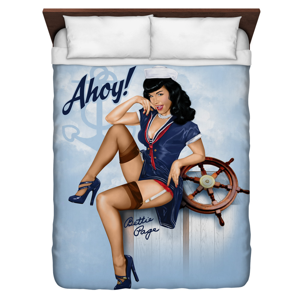 Bettie Page Ahoy Queen Duvet Cover White 88X88