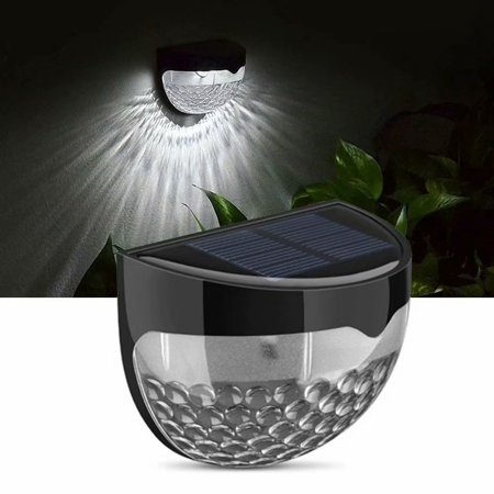 Image of 1Pack IP65 Solar Powered Wireless Light Weatherproof Lamp with 6 LEDs Light Sensor Auto on at Dusk Auto off at Dawn,black color with white light