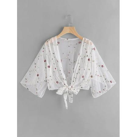 3/4 Sleeve Printed Jacket (Women One Size Flower Print Mesh See Through Ladies Outwear 3/4 Sleeve)
