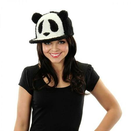 Fuzzy Panda Snapback Adult Hat Halloween Accessory - Fuzzy Panda Hat