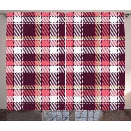 Checkered Curtains 2 Panels Set, Old Fashioned Style Garment Pattern ...