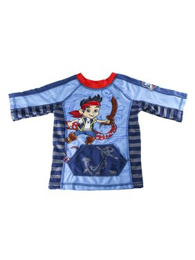 Disney Store Boys Jake & The Never Land Pirates Rash Guard, Blue/Red, Size 7/8