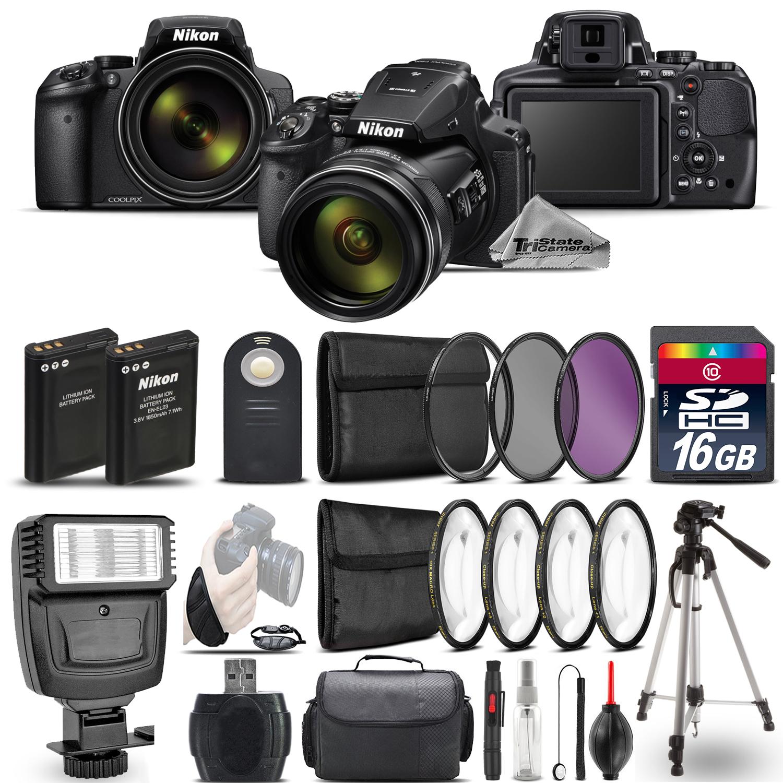 Nikon COOLPIX P900 Digital Camera 83x + Flash + 7PC Filter + EXT BAT - 16GB Kit