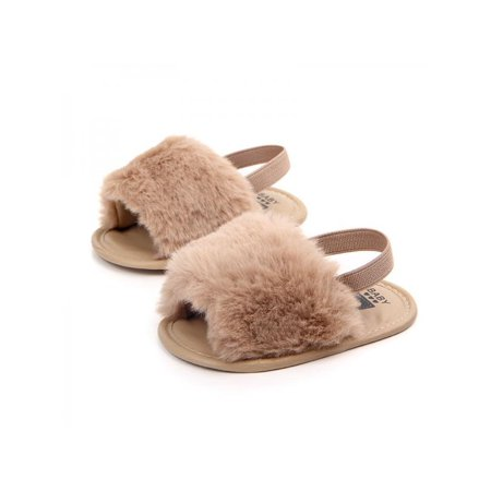 Lavaport Baby Infant Girls Faux Fur Sandals Soft Sole Shoes Plush (Adidas Slides Sandals)