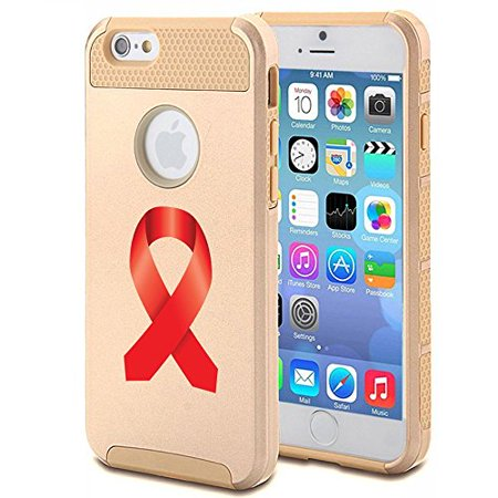 Apple iPhone SE Shockproof Impact Hard Soft Case Cover Heart Disease - AIDS Awareness Ribbon (Gold),MIP - Aids Awareness Ribbon