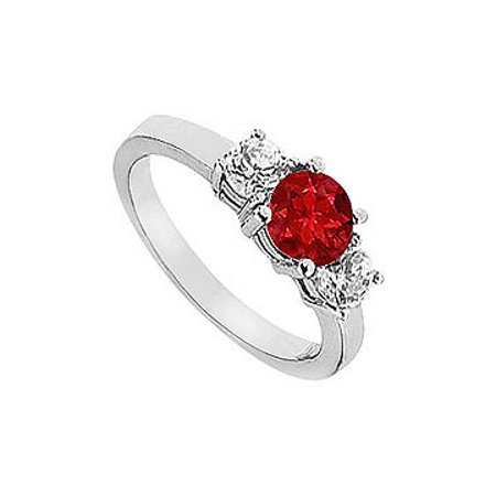 Ruby and Diamond Engagement Ring 14K White Gold 1.25 CT TGW - image 1 de 1