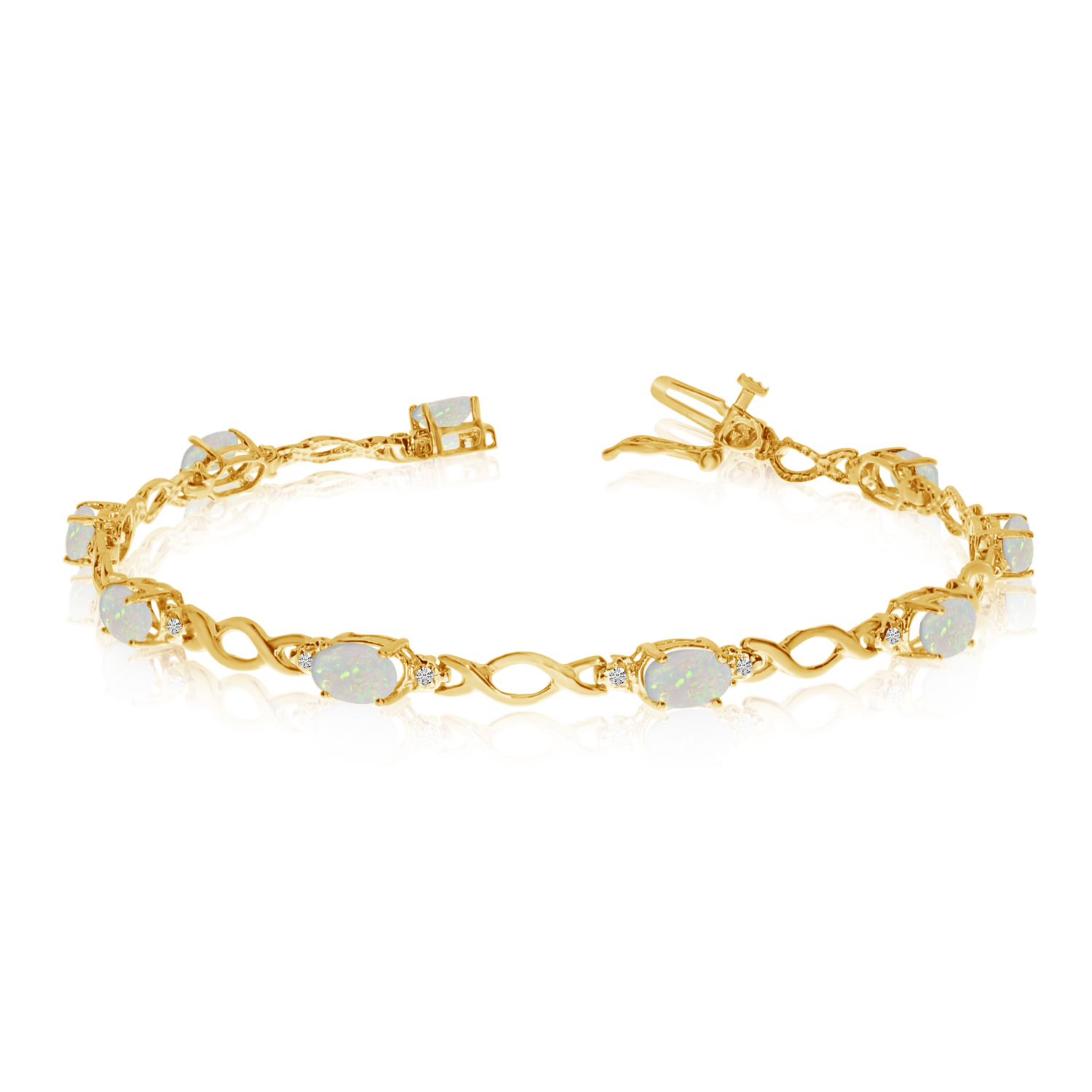 10K Yellow Gold Oval Opal and Diamond Bracelet by LCD