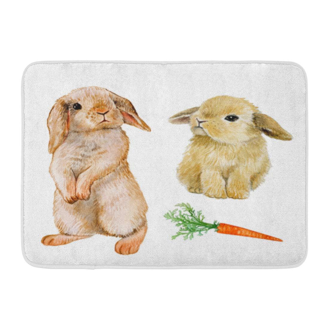 Godpok Cute White Bunny Rabbit With Carrot Watercolor Draw Animal Easter Vintage Rug Doormat Bath Mat 23 6x15 7 Inch Walmart Com Walmart Com
