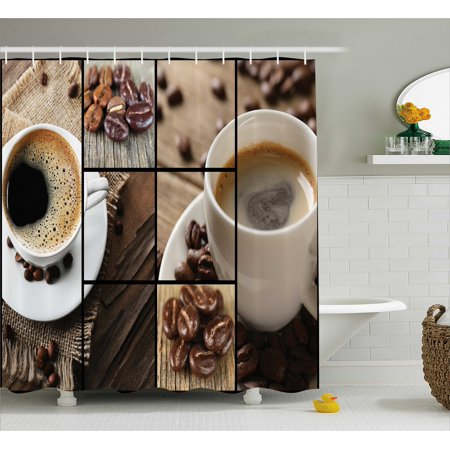 Brown Shower Curtain, Coffee Themed Collage Close Up Mugs Beans on Wooden Table Aromatic Roasted Espresso Drink, Fabric Bathroom Set with Hooks, 69W X 70L Inches, Brown, by - Halloween Themed Espresso Drinks