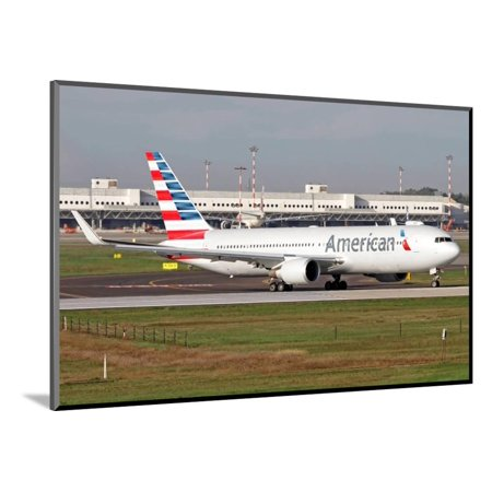 An American Airlines Boeing 767 at Milano Malpensa Airport, Italy Wood Mounted Print Wall Art (American Airlines 767)