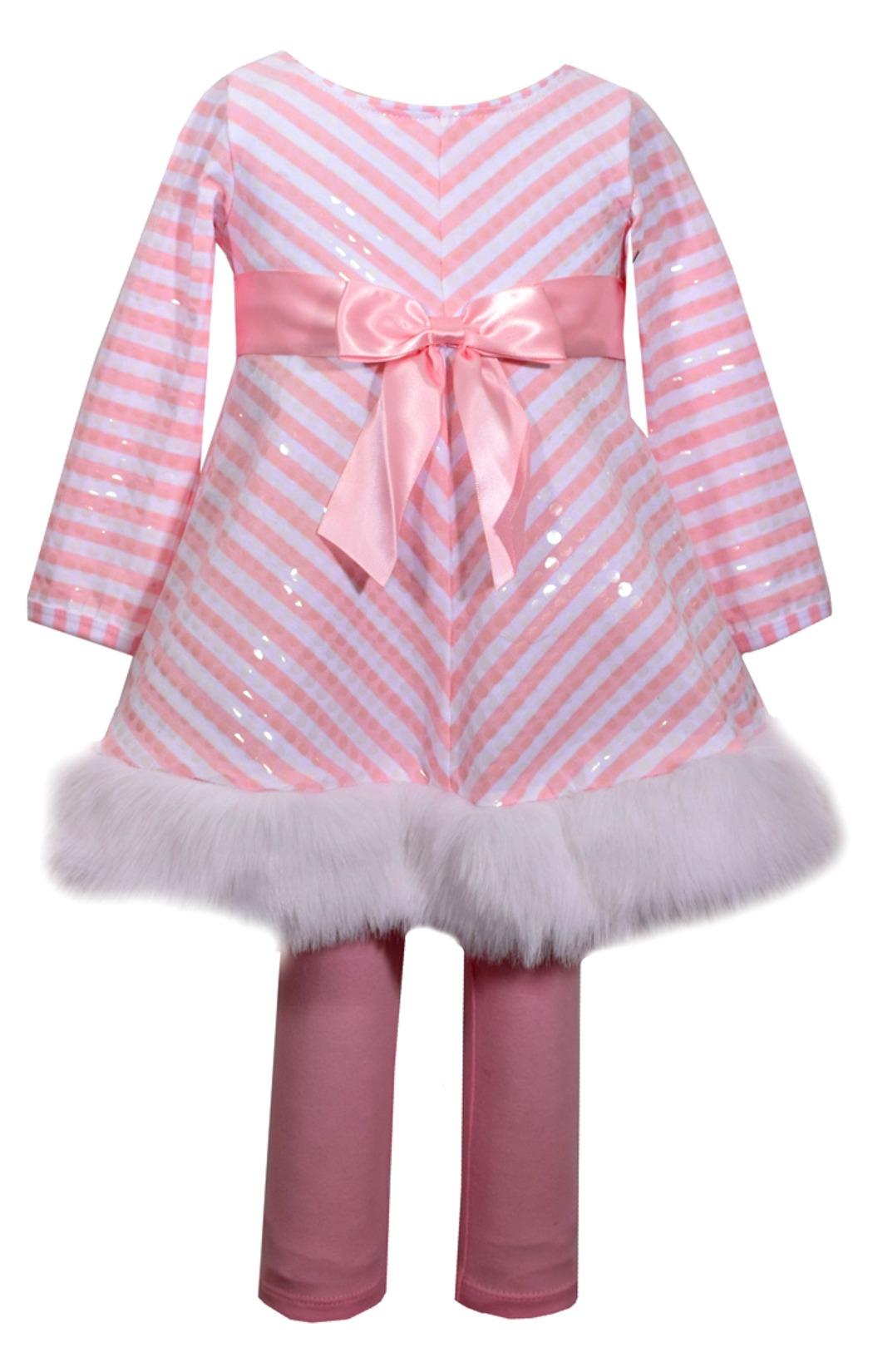 Bonnie Jean Girls Miltered Stripe Santa Holiday Legging Set
