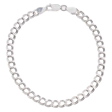 - Sterling Silver Italian .065 'Parallelo' Chain Charm Bracelet 7 Inch With Lobster Clasp